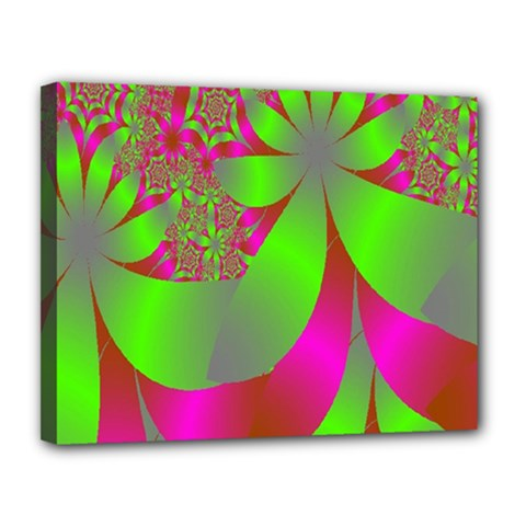 Green And Pink Fractal Canvas 14  x 11