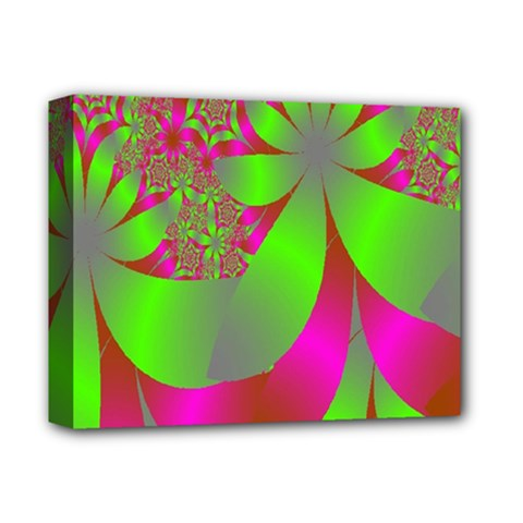 Green And Pink Fractal Deluxe Canvas 14  x 11