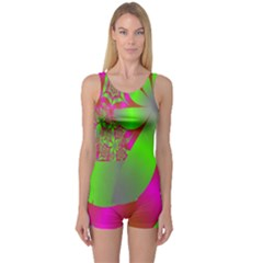 Green And Pink Fractal One Piece Boyleg Swimsuit