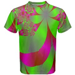 Green And Pink Fractal Men s Cotton Tee