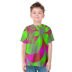 Green And Pink Fractal Kids  Cotton Tee