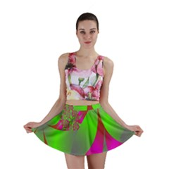 Green And Pink Fractal Mini Skirt