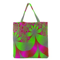 Green And Pink Fractal Grocery Tote Bag