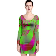 Green And Pink Fractal Long Sleeve Bodycon Dress