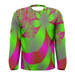 Green And Pink Fractal Men s Long Sleeve Tee