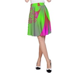 Green And Pink Fractal A-Line Skirt