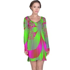 Green And Pink Fractal Long Sleeve Nightdress