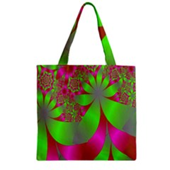 Green And Pink Fractal Zipper Grocery Tote Bag