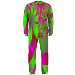 Green And Pink Fractal Onepiece Jumpsuit (men)