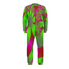 Green And Pink Fractal OnePiece Jumpsuit (Kids)