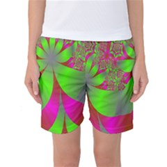 Green And Pink Fractal Women s Basketball Shorts