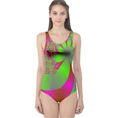 Green And Pink Fractal One Piece Swimsuit