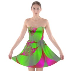 Green And Pink Fractal Strapless Bra Top Dress