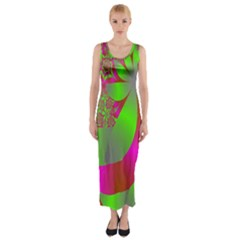 Green And Pink Fractal Fitted Maxi Dress