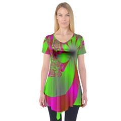 Green And Pink Fractal Short Sleeve Tunic