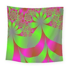 Green And Pink Fractal Square Tapestry (large)