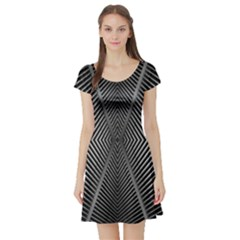 Abstract Of Shutter Lines Short Sleeve Skater Dress
