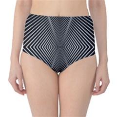 Abstract Of Shutter Lines High-Waist Bikini Bottoms