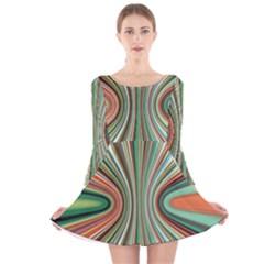 Colorful Spheric Background Long Sleeve Velvet Skater Dress