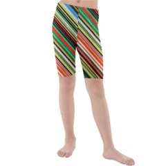 Colorful Stripe Background Kids  Mid Length Swim Shorts