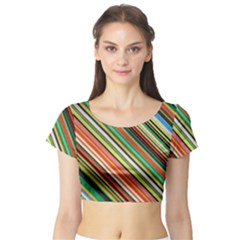 Colorful Stripe Background Short Sleeve Crop Top (Tight Fit)
