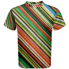 Colorful Stripe Background Men s Cotton Tee