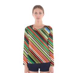 Colorful Stripe Background Women s Long Sleeve Tee