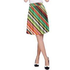 Colorful Stripe Background A-Line Skirt