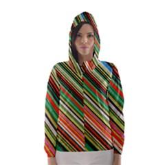 Colorful Stripe Background Hooded Wind Breaker (Women)