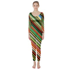 Colorful Stripe Background Long Sleeve Catsuit