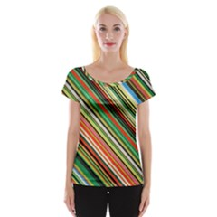 Colorful Stripe Background Women s Cap Sleeve Top