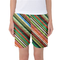 Colorful Stripe Background Women s Basketball Shorts
