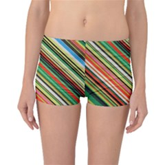 Colorful Stripe Background Boyleg Bikini Bottoms