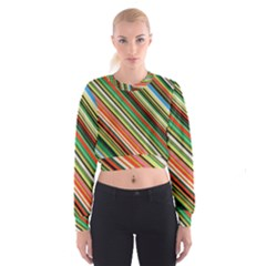 Colorful Stripe Background Women s Cropped Sweatshirt