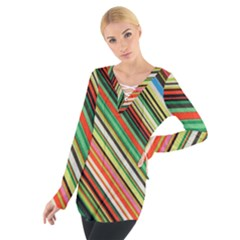Colorful Stripe Background Women s Tie Up Tee