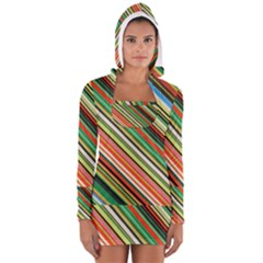 Colorful Stripe Background Women s Long Sleeve Hooded T Shirt