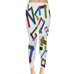 Colorful Letters From Wood Ice Cream Stick Isolated On White Background Leggings