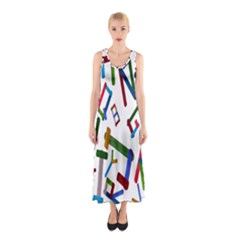 Colorful Letters From Wood Ice Cream Stick Isolated On White Background Sleeveless Maxi Dress