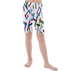 Colorful Letters From Wood Ice Cream Stick Isolated On White Background Kids  Mid Length Swim Shorts