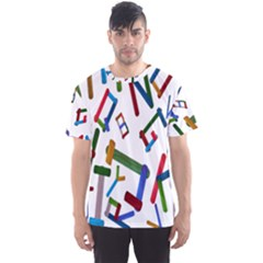 Colorful Letters From Wood Ice Cream Stick Isolated On White Background Men s Sport Mesh Tee