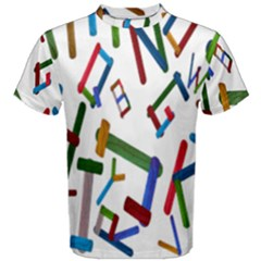 Colorful Letters From Wood Ice Cream Stick Isolated On White Background Men s Cotton Tee