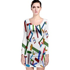 Colorful Letters From Wood Ice Cream Stick Isolated On White Background Long Sleeve Bodycon Dress