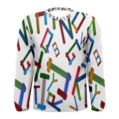 Colorful Letters From Wood Ice Cream Stick Isolated On White Background Men s Long Sleeve Tee