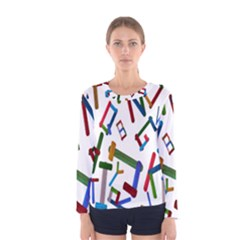 Colorful Letters From Wood Ice Cream Stick Isolated On White Background Women s Long Sleeve Tee