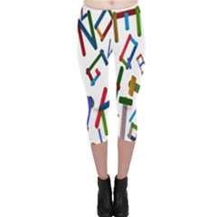 Colorful Letters From Wood Ice Cream Stick Isolated On White Background Capri Leggings