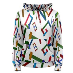 Colorful Letters From Wood Ice Cream Stick Isolated On White Background Women s Pullover Hoodie