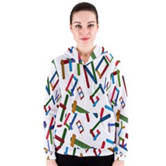 Colorful Letters From Wood Ice Cream Stick Isolated On White Background Women s Zipper Hoodie