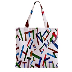 Colorful Letters From Wood Ice Cream Stick Isolated On White Background Zipper Grocery Tote Bag
