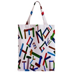 Colorful Letters From Wood Ice Cream Stick Isolated On White Background Zipper Classic Tote Bag