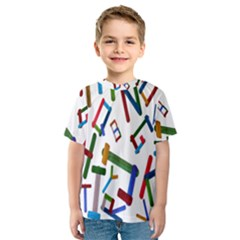 Colorful Letters From Wood Ice Cream Stick Isolated On White Background Kids  Sport Mesh Tee